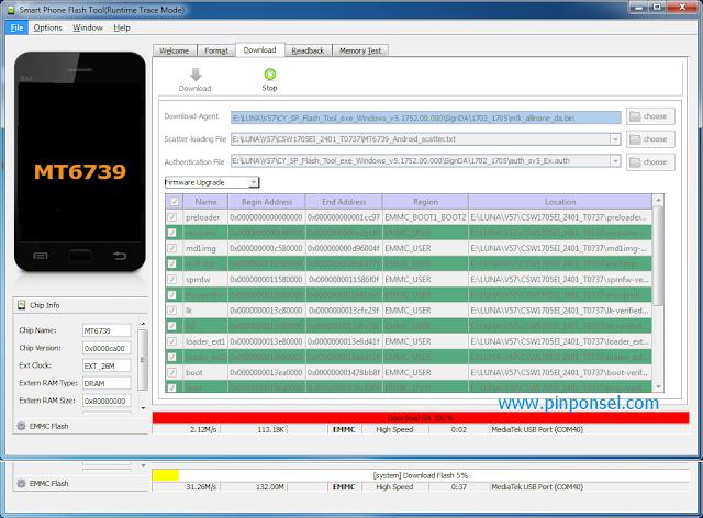 Proses flashing firmware update sedang berjalan