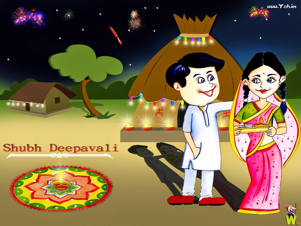 happy diwali cartoon wallpaper