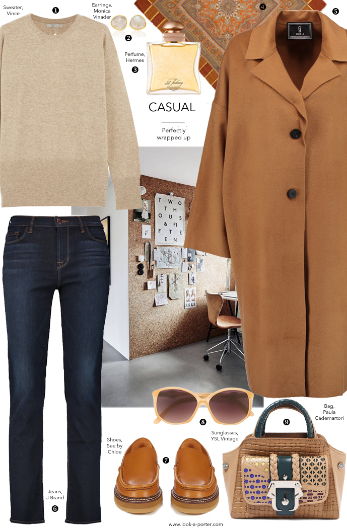 Effortlessly beautiful outfit styling camel coat, jeans, vintage Hermes, Yves Saint Laurent, J Brand, Vince, Paula Cademartori, Chloe & Monica Vinader for www.look-a-porter.com fashion blog