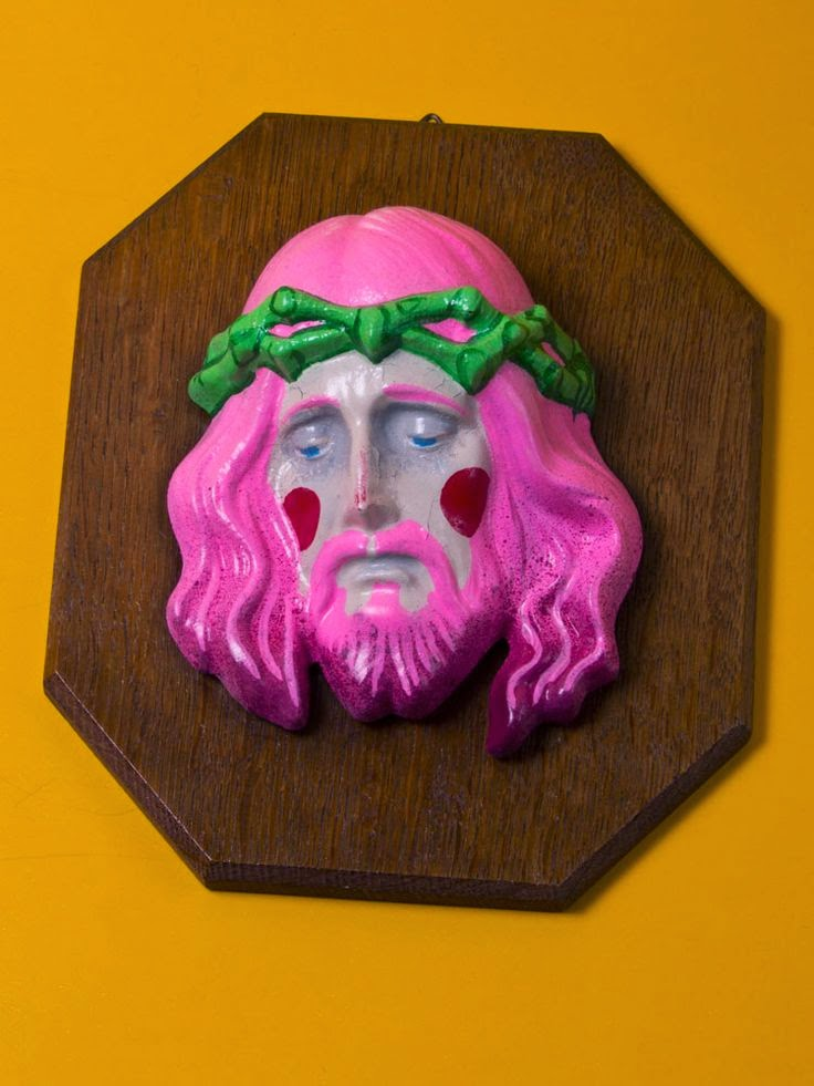 Funny Weird Jesus Collection - pink sad jesus nailed to a board picture