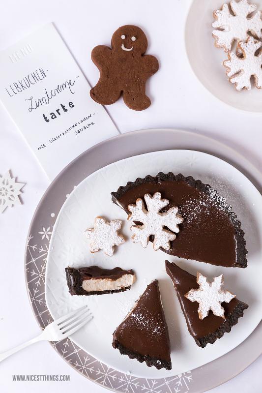 Lebkuchen Zimt Cheesecake Tarte mit Schokoladen Ganache