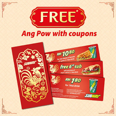Subway Malaysia Free Ang Pow With Coupons