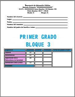 Exámenes Primer grado Ciclo Escolar 2017-2018