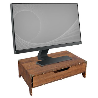 Using a wooden monitor stand computer riser.