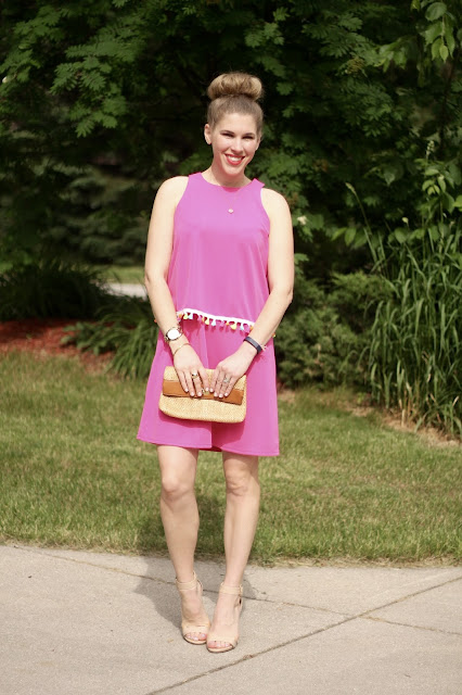 pink tassel dress, nude heels, straw clutch, summer-dress, pink-summer-dress, tassel-dress,