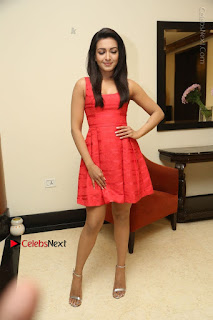 Actress Catherine Tresa Latest Pos in Red Short Dress at Intex Air Conditioners Launch  0035.jpg