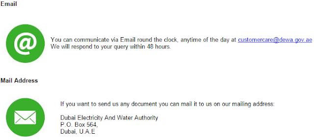 dewa email and mail p o box num dubai uae