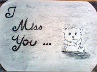 picture of i miss you with bear sketch holding heart