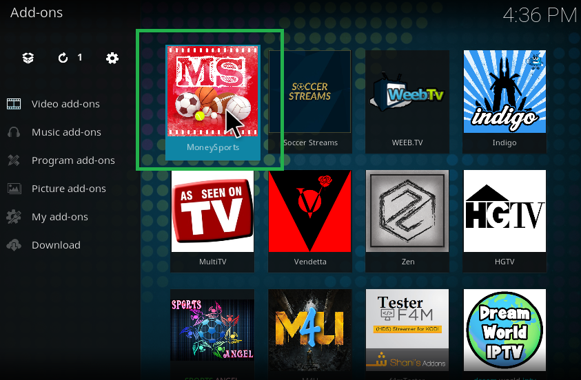 how to add icons to kodi home screen