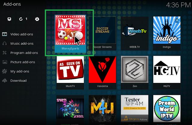 installed MoneySports Kodi addon 17