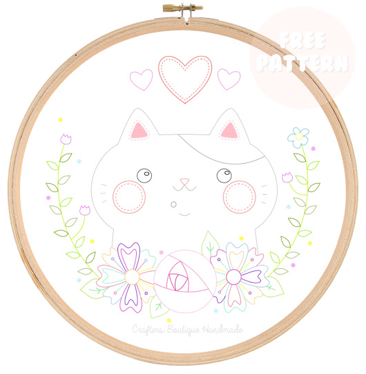 Free Embroidery Pattern - 'I Love My Cat'