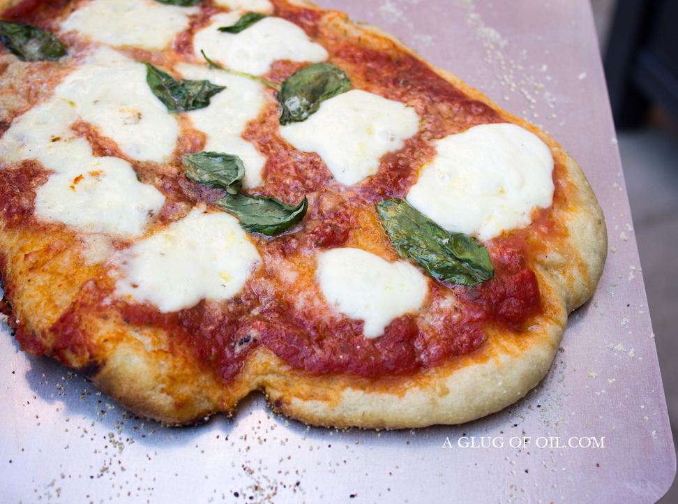 Margherita Pizza cooked in a Wood-fired Pizza Oven