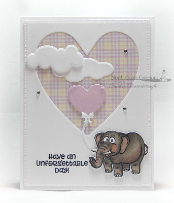 North Coast Creations Stamps & Dies: Go Wild, ODBD Custom Dies: Ornate Hearts, Pierced Rectangles, Clouds and Raindrops, Balloons and Streamers, Windowsill Candles, ODBD Paper Collection:  Pastel Pack
