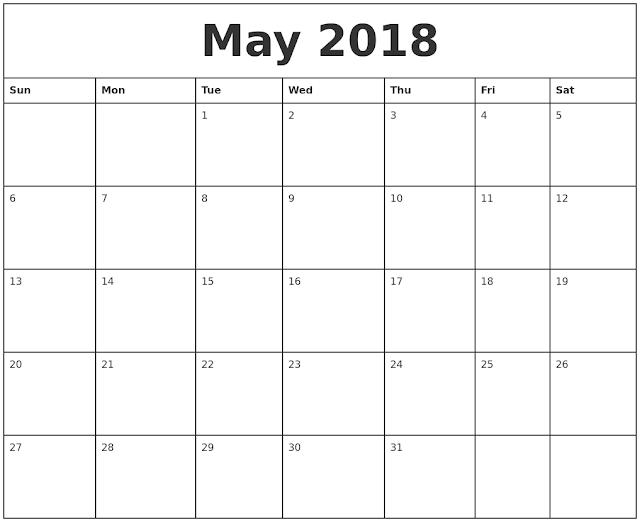 May 2018 Calendar. May Calendar 2018, May 2018 Calendar Printable, May 2018 Calendar Template, Blank May 2018 Calendar, Free May 2018 Calendar