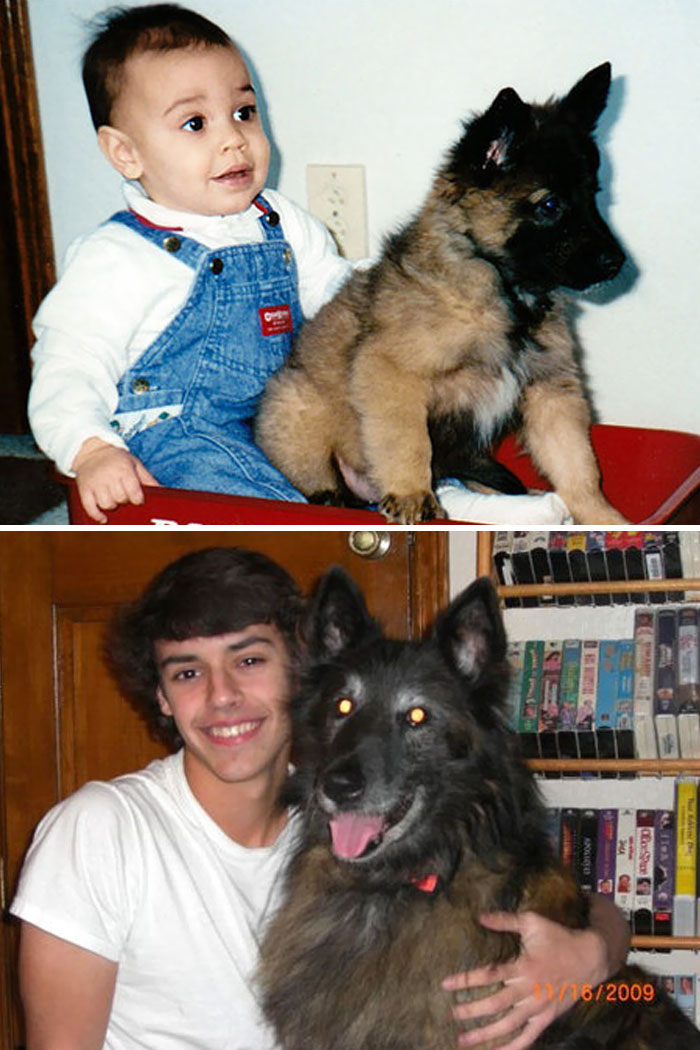 30 Heart-Warming Photos Of Dogs Growing Up Together With Their Owners - Aaron And Skye, 14 Years Later