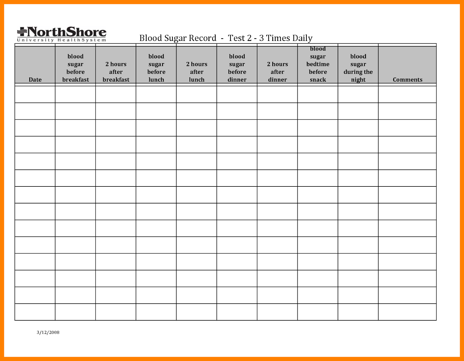 Blood Sugar Log Template In Format