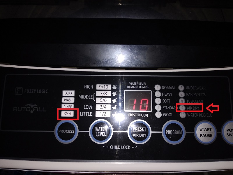 Fungsi Air Dry Pada Mesin Cuci