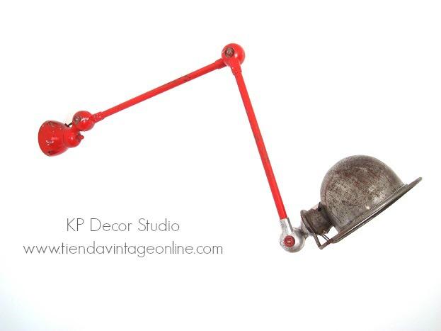 Lámpara jielde 2 brazos. comprar lámpara industrial francia jielde color rojo