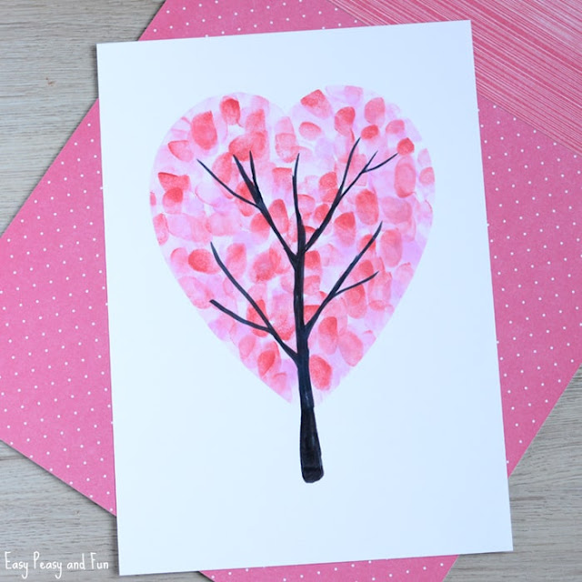 pink fingerprint tree valentine craft preschoolers and toddlers can make