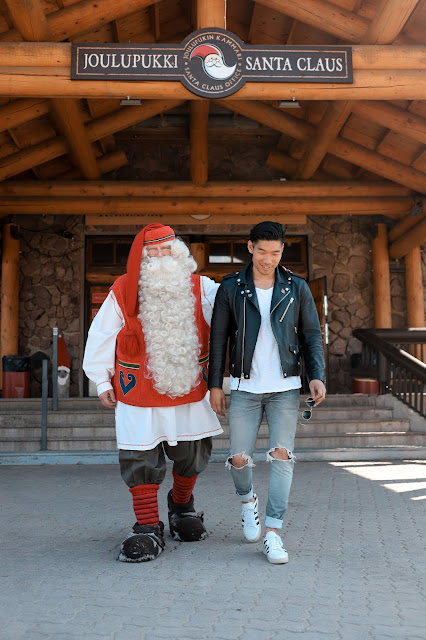 Meeting Santa Claus at Santa's Village in Rovaniemi