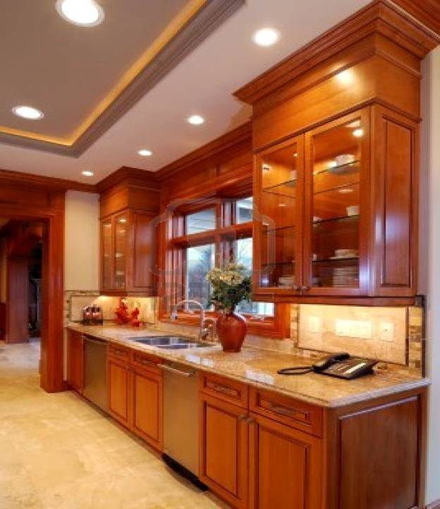 Brown Kitchen Cabinets: Brown Kitchen Cabinets Made Of Solid Wood