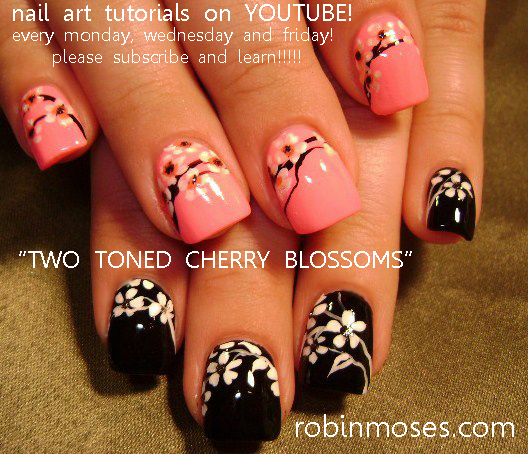 Nail Art By Robin Moses Nail Art With Cherry Blossoms In White On