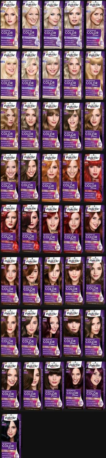 Palette intensive color creme  saç renk kodları