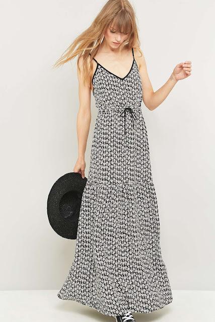 pins needles maxi dress, black white maxi dress, ditsy print maxi dress,