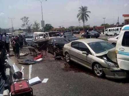 Photos From the Scene of a Horrible Accident Involving Several Cars On Popular Lagos Road
