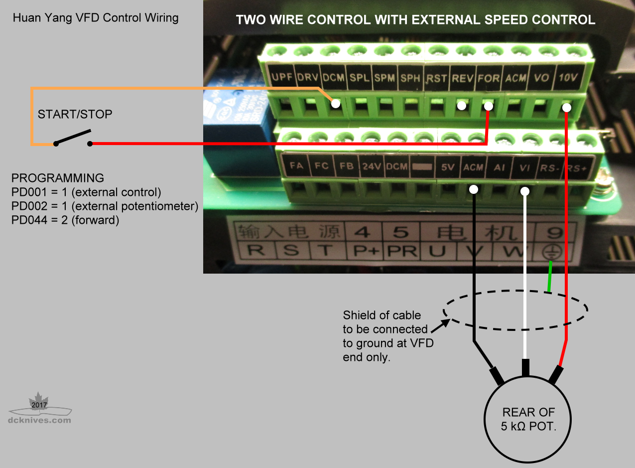 medium resolution of huanyang vfd wiring for two wire and external speed control