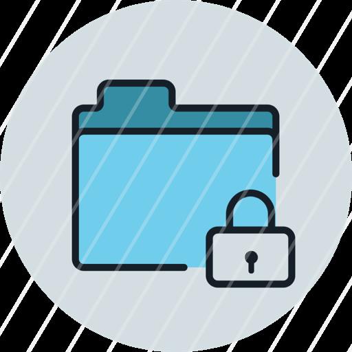 files, folder, lock, private, storage, icon