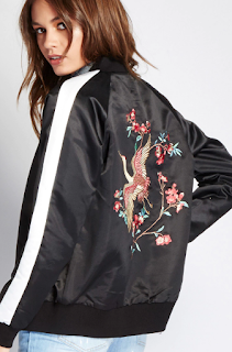 forever 21 satin embroidered bomber jacket