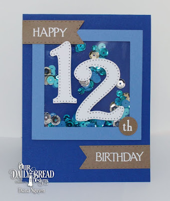 Our Daily Bread Designs Stamp Set: Celebration, Custom Dies: Large Numbers, Double Stitched Pennant Flags, Square