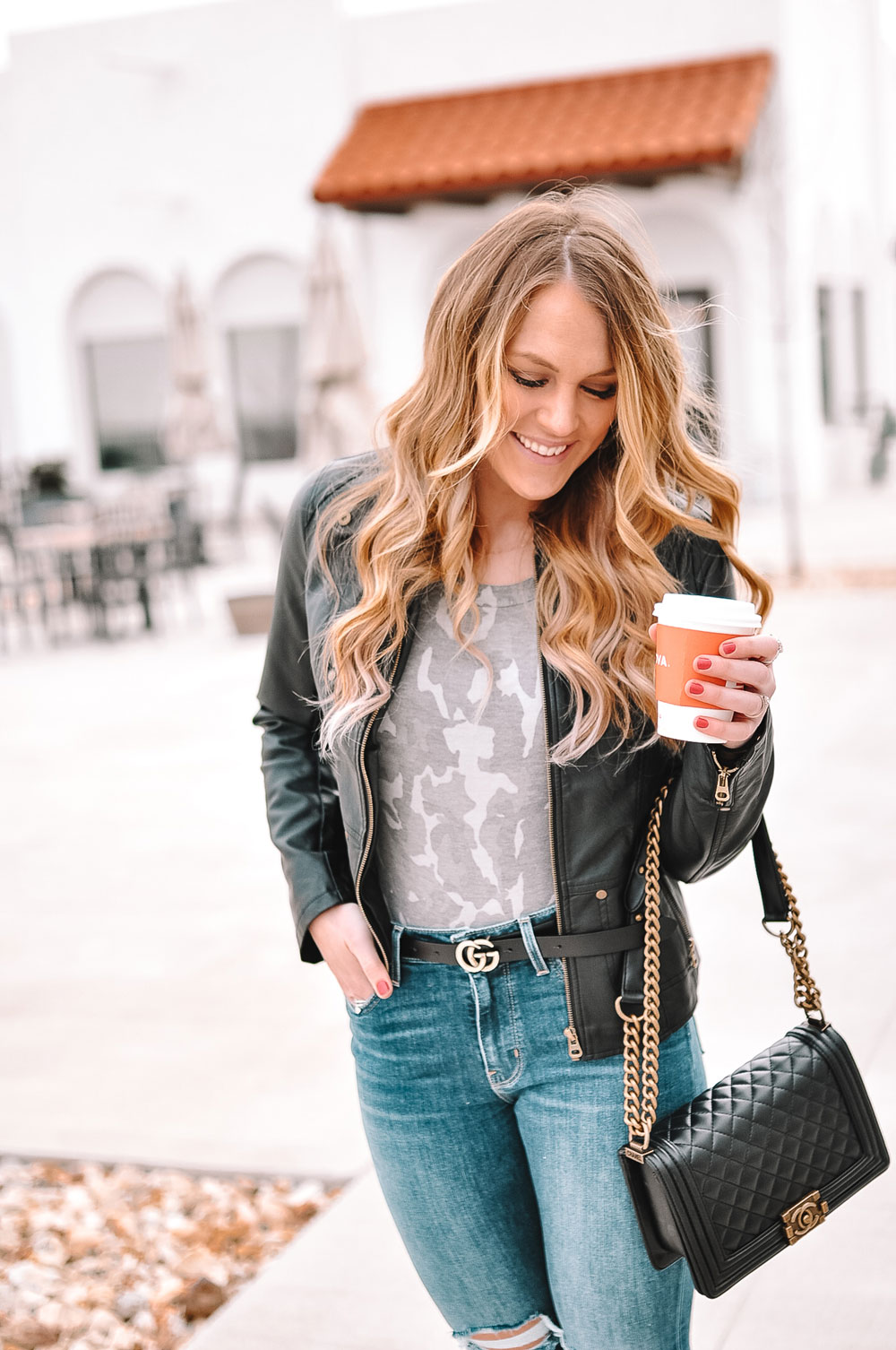 OKC blogger Amanda Martin styles camo and leather