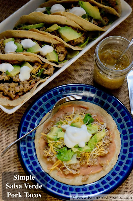 Salsa verde spices up ground pork in these gluten free tacos. Spread the corn tortillas with a layer of refried beans for extra protein & fiber, and finish with your favorite toppings!