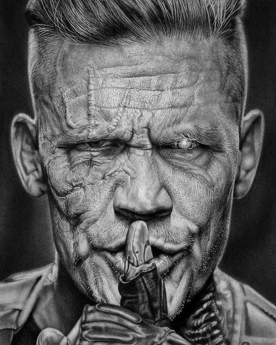 06-Deadpool-Josh Brolin-Cable-Justin-Cohen-Realistic-Portrait-Drawings-WIP-www-designstack-co