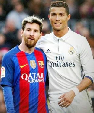 Foto de Cristiano Ronaldo abrazando a Messi