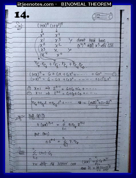 IITJEE Competiton Notes on Binomial Theorem 2
