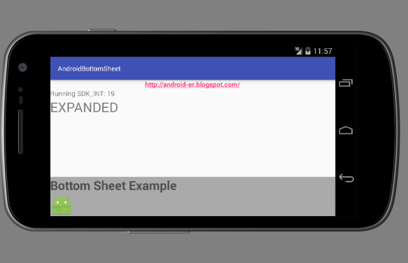 Android-er: Implement BottomSheet of Android Design Support