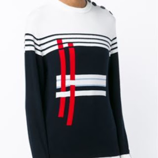 Preen Line Annie white and navy long sleeve sweater with red white and blue stripe detail