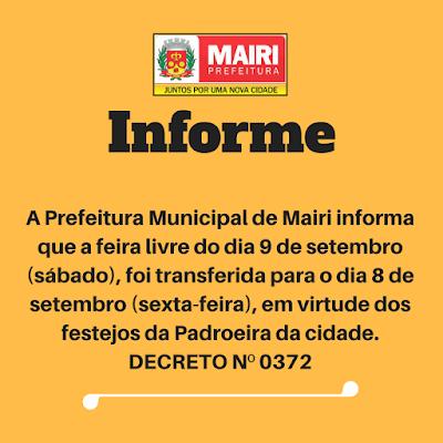 A feira livre de Mairi será sexta-feira
