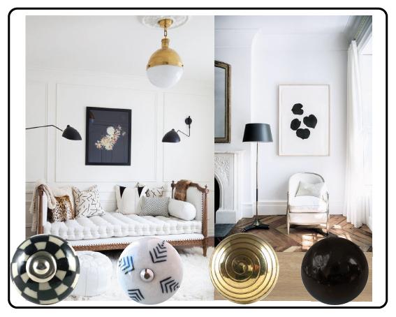 bouton de meuble damier, bouton spirale or, bouton noir et blanc