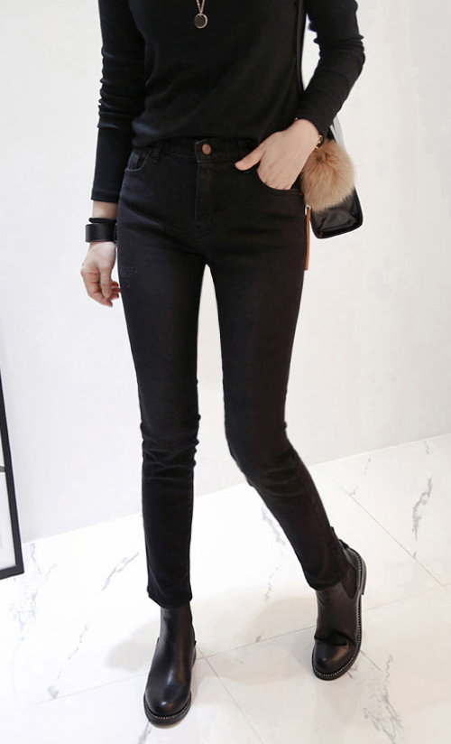 Faded Wash Elastic Waist Skinny Jeans