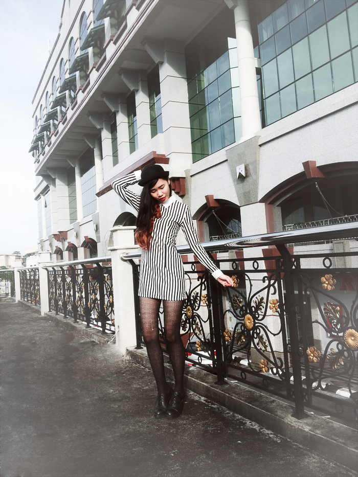 Brunei Blogger May Cho of THEMAYDEN, Parisian, Stripes, Bowler Hat