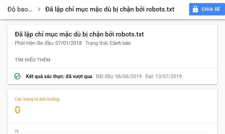Sửa lỗi: Đã lập chỉ mục mặc dù bị chặn bởi robots.txt