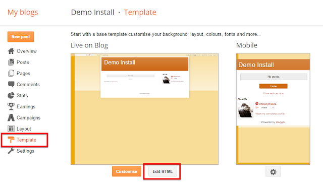 "You will see an option in template section ""Edit HTML"", you need to click this option to paste your custom theme copy"
