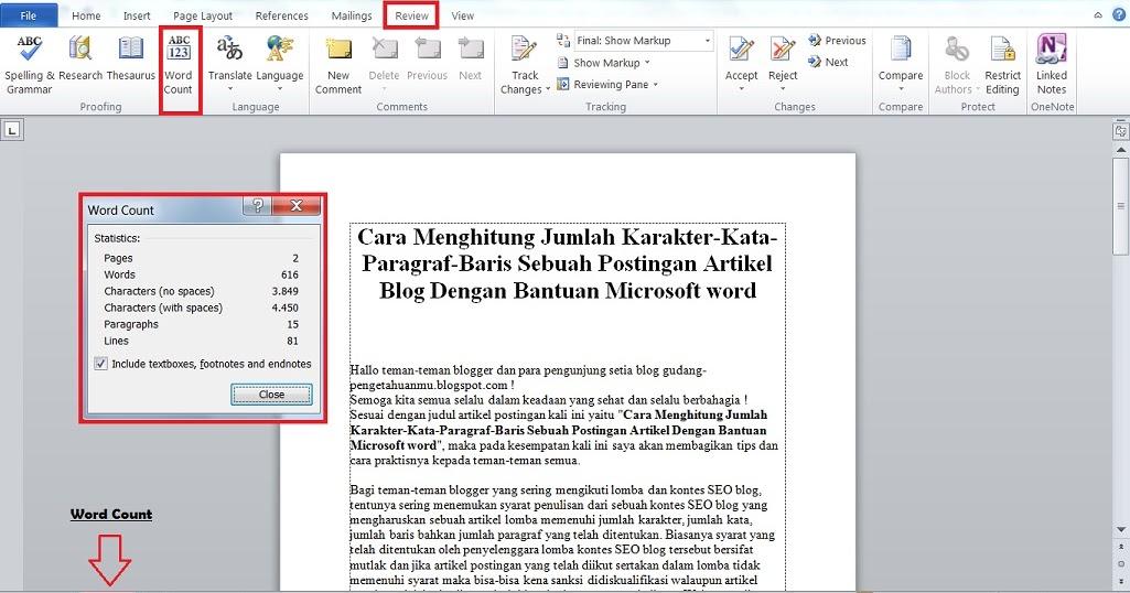 Cara Praktis Menghitung Jumlah Kata dan Karakter Pada Postingan ...