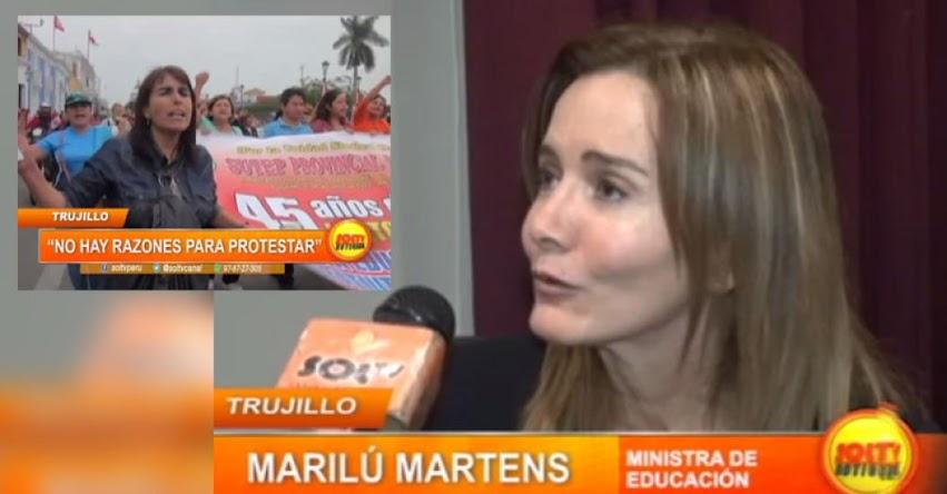 Ministra de educación manifestó que no hay razones para protestar y aseguró que habrá aumento en sus remuneraciones [VIDEO]