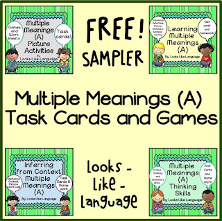 Multiple Meanings Task Cards Freebie from Looks-Like-Langage