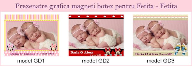 marturii gemeni magneti de frigider personalizati cu fotografie disney